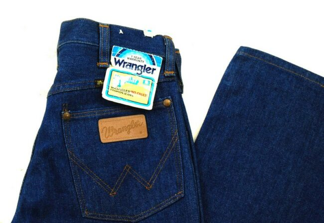 Close up of 70s Deadstock Wrangler No Fault Fashion Jeans