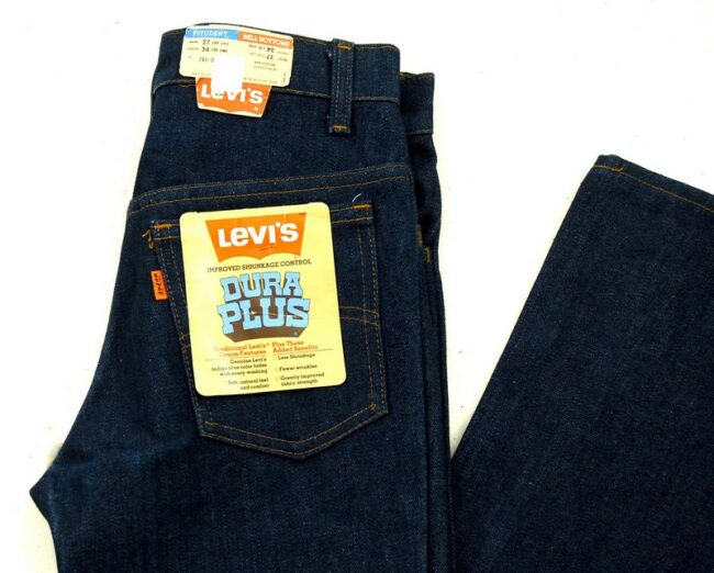 Close up of 70s Vintage Deadstock Dura Plus Bell Bottom Levis Student Fit Jeans