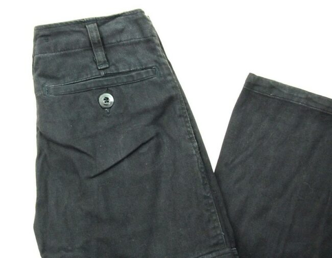 Close up of Black Vintage Army Trousers