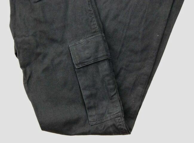 Close up of Black Cargo Trousers
