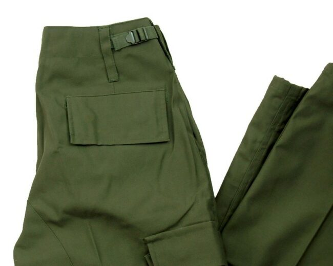 Close up of Olive Vintage Army Trousers