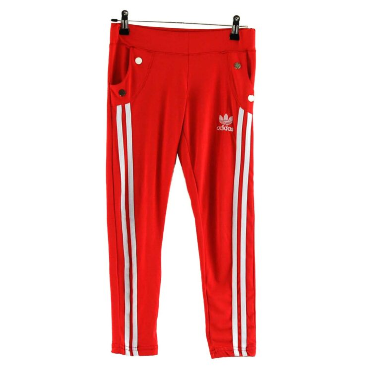 Red Adidas stripe Leggings