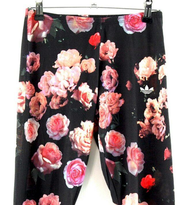 Close up of Adidas Vintage Floral Leggings