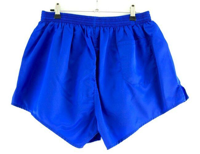 Back of Blue Satin Erima Shorts