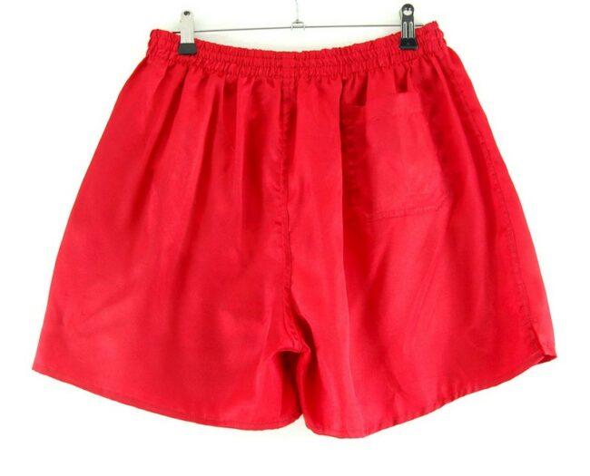 Back of Mens Red Satin Active Shorts