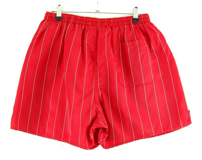 Back of Red Striped Active Shorts