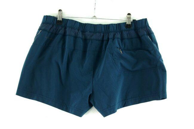 Back of Blue Omni Dry Columbia Shorts Women