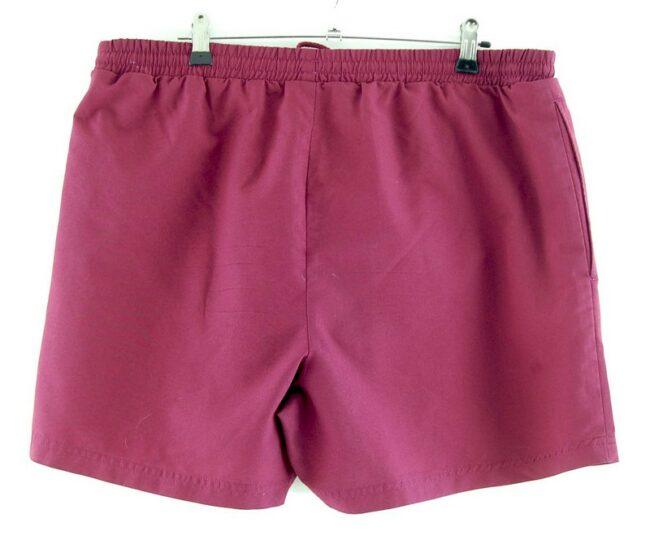 Back of Burgundy Adidas Stripes Shorts