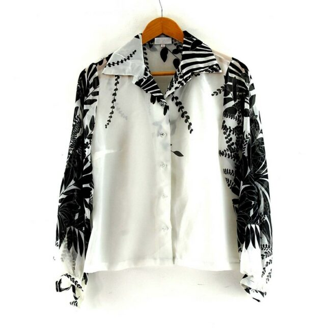 Floral Print Black And White 70s Blouse