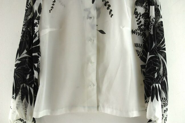 Close of Floral Print Black And White 70s Blouse