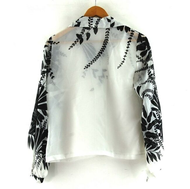 Back of Floral Print Black And White 70s Blouse