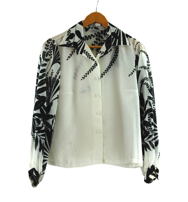 Floral Print Black And White Seventies Blouse