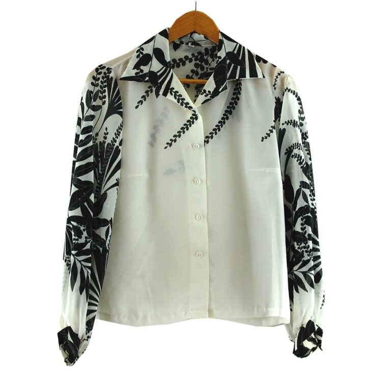 Floral Print Black And White 1970s Blouse
