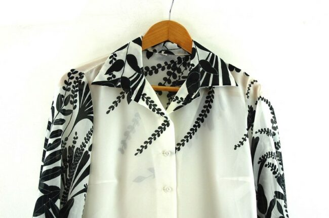 Close up Floral Print Black And White Seventies Blouse