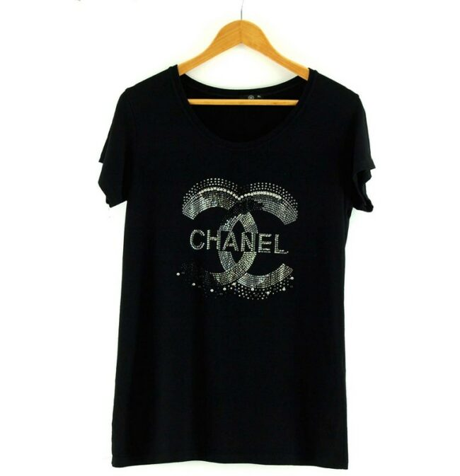 Black Chanel Logo T Shirt