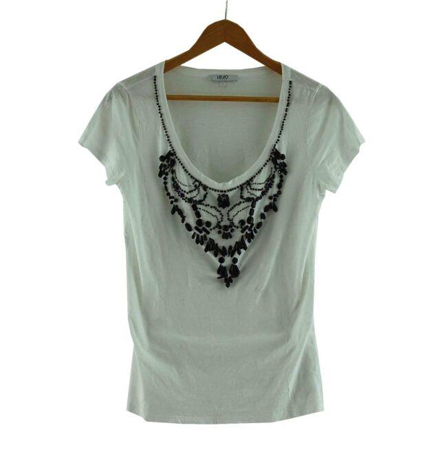 White Beaded Liu Jo T Shirt