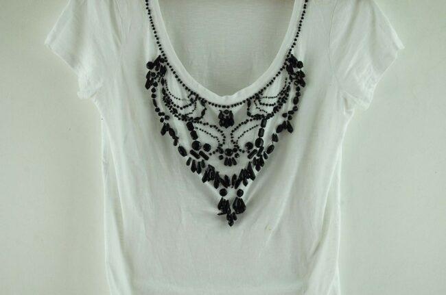 Close up of White Beaded Liu Jo T Shirt