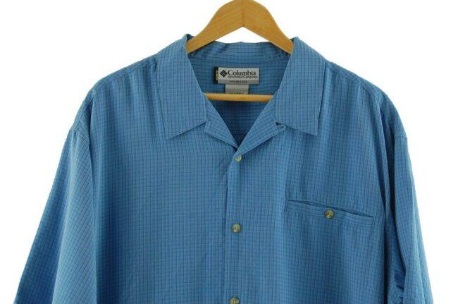 Close up of Blue Short Sleeve Columbia GRT Shirt