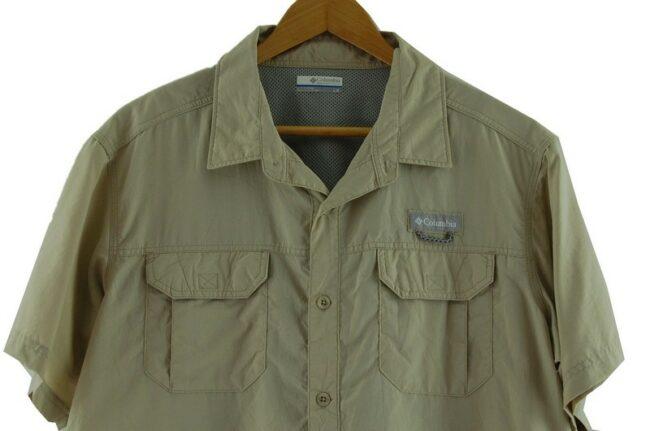 Close up of Beige Columbia Short Sleeve Shirt