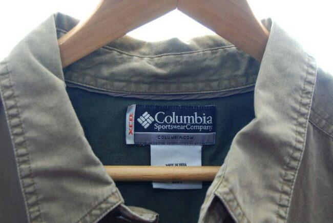 Close up of Brown Long Sleeve Columbia Shirt