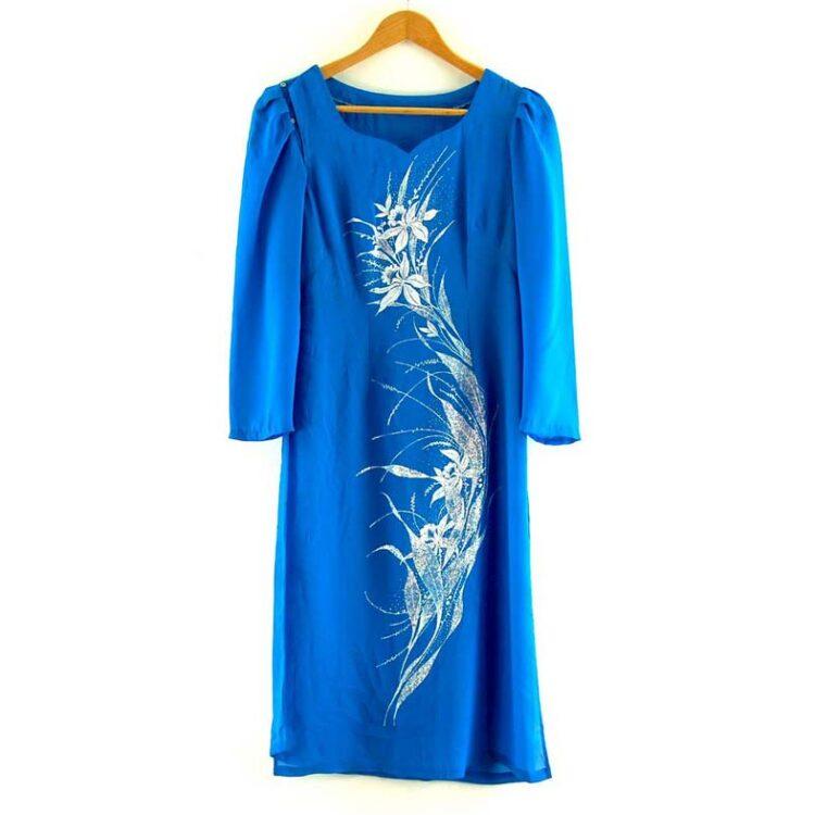 Blue Glitter Print Vietnamese Dress