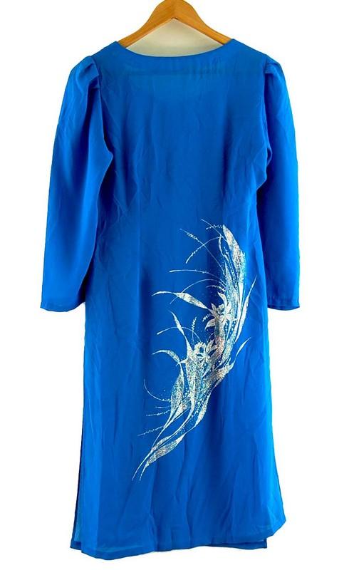 Back of Blue Glitter Print Vietnamese Dress