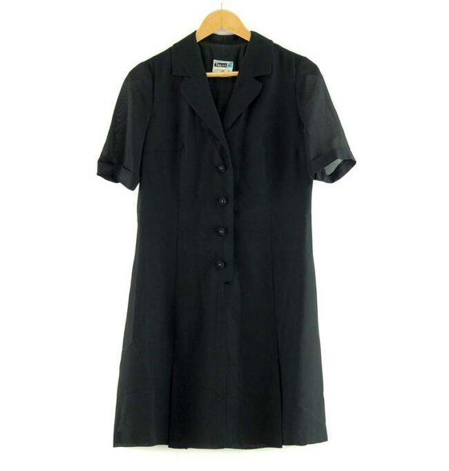 50s Aline Black Dress Knee Length