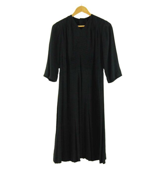 40s Ruched Black Crepe De Chine Dress