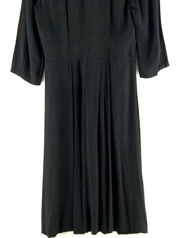Back of 40s Ruched Black Crepe De Chine Dress