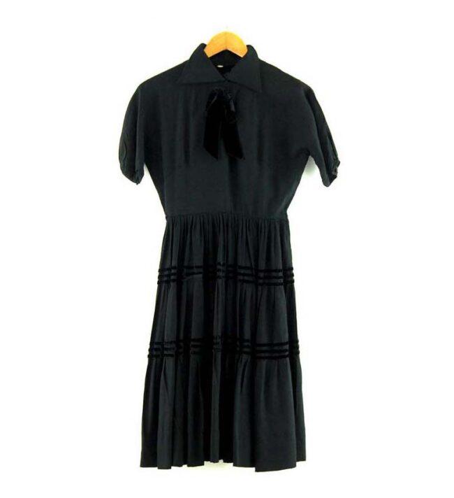 Knee Length Black 50s Dress