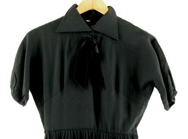 Front of Knee Length Black 50s Dress