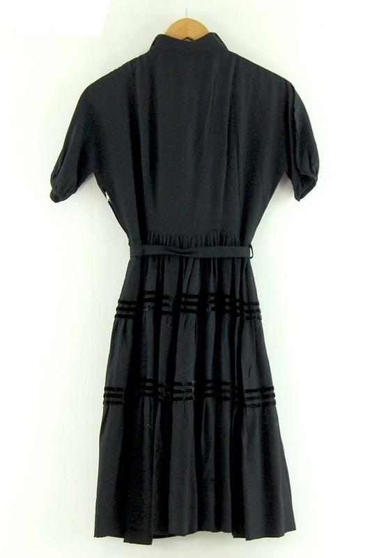 Back of Knee Length Black 50s Dress