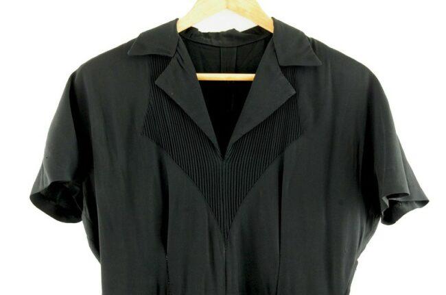 Close up Black 40s Rayon Dress
