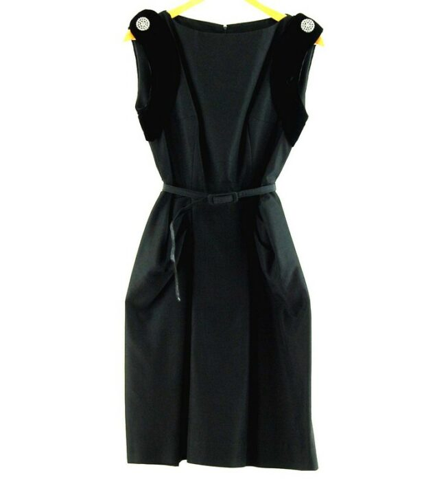Watered Silk Black 50s Cocktail Dress With Diamante
