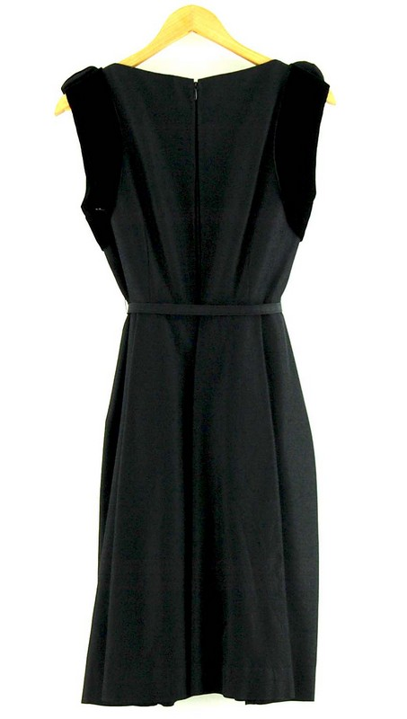 Back of Watered Silk Black 50s Cocktail Dress With Diamante