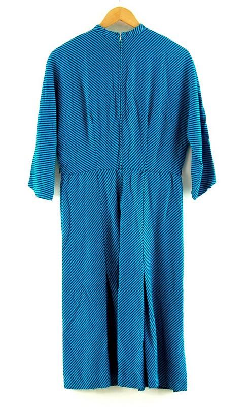Close up Blue 50s Candy Stripe Dress