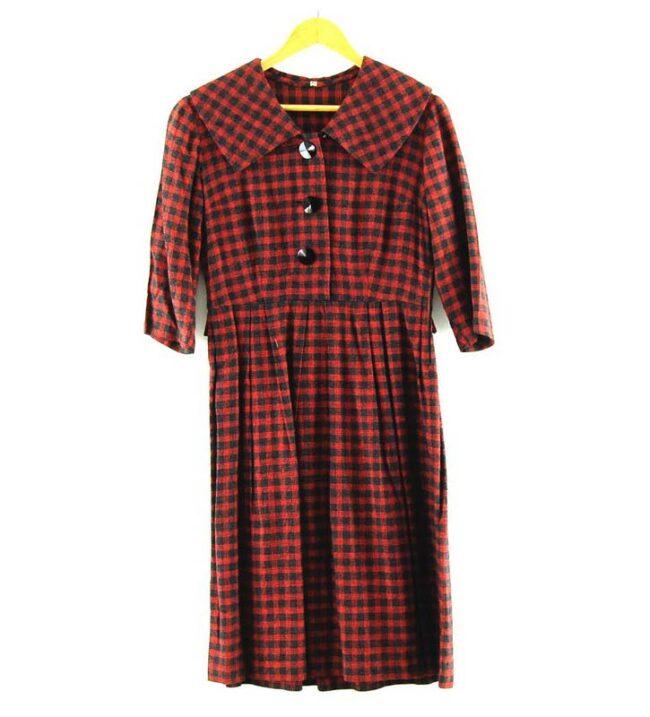 Wool Check 50s Midi Dress