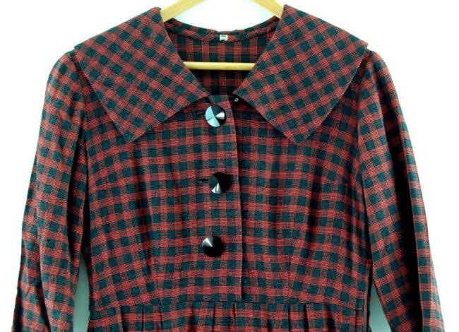 Close up of Wool Check 50s Midi Dress