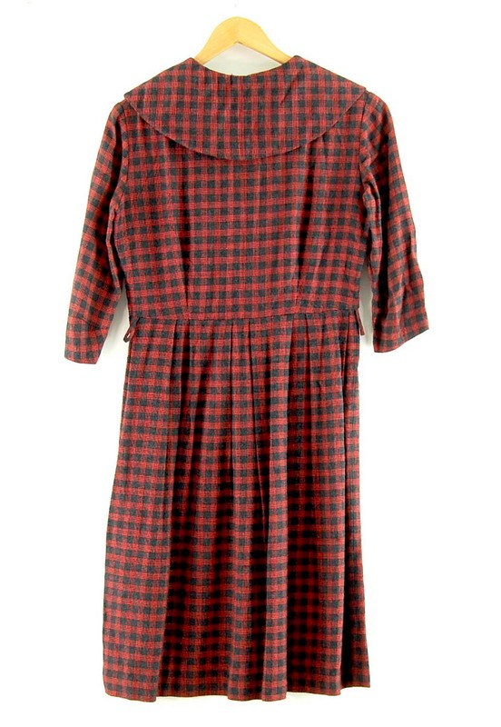 Back of Wool Check 50s Midi Dress