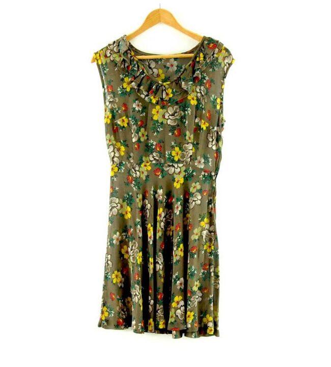 1940s Vintage Floral Chiffon Dres