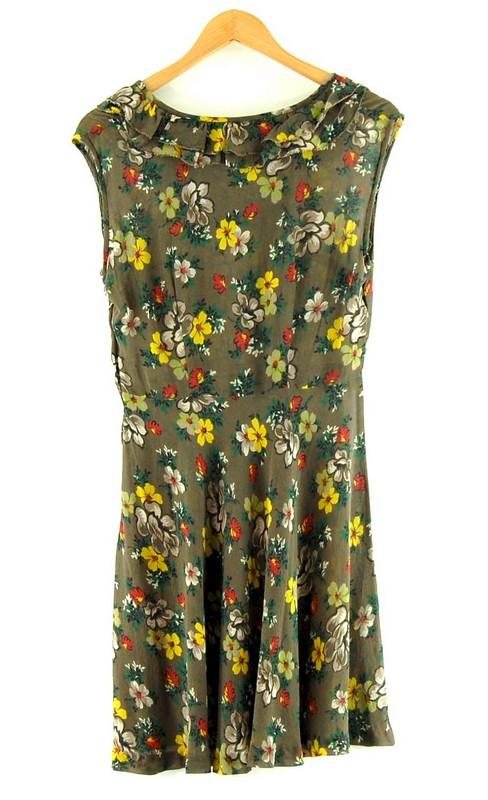 Back of 1940s Vintage Floral Chiffon Dress