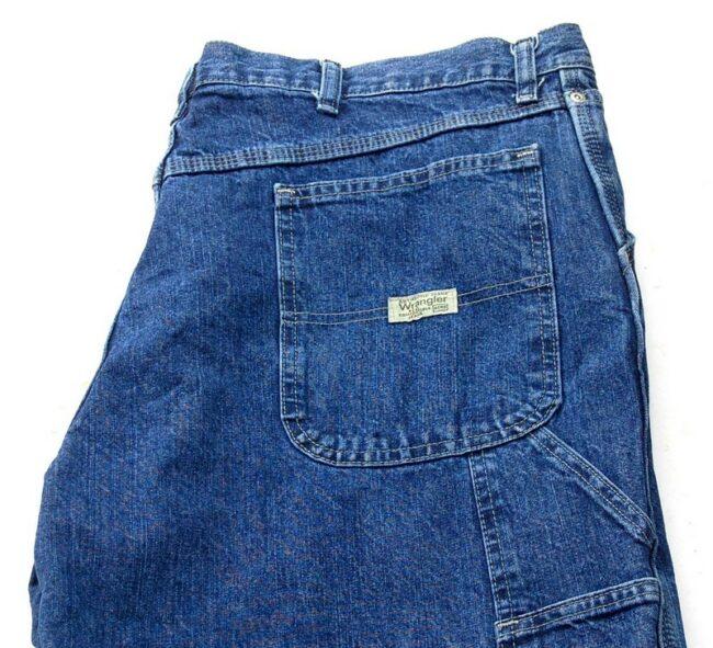 Close up of Blue Denim Wrangler Carpenter Pants