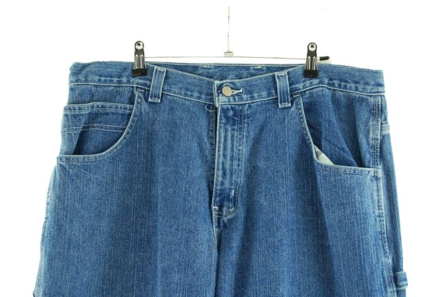 Close up of Blue Denim Faded Glory Carpenter Jeans