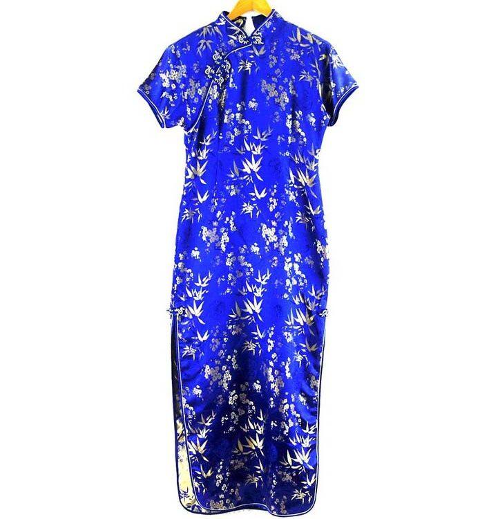 Long Blue Chinese Dress