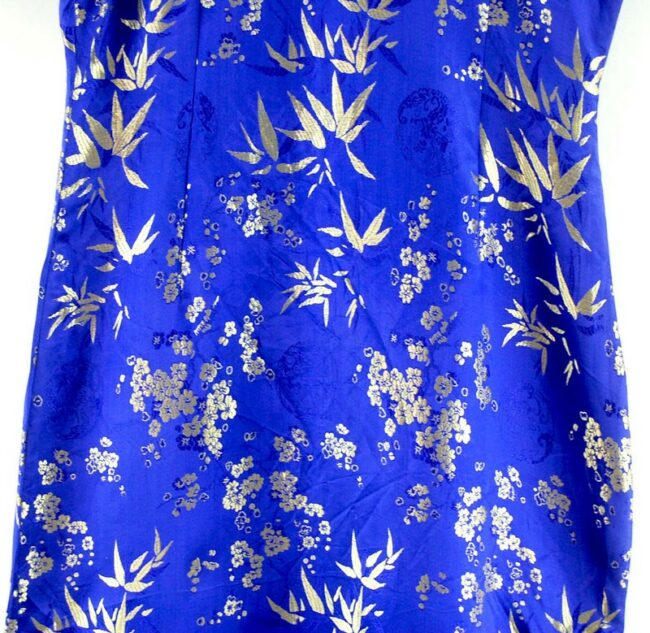 Close up of Long Blue Chinese Dress