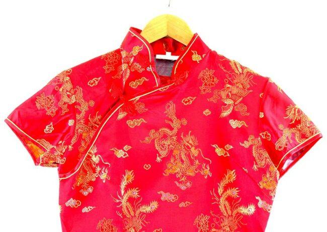 Close up of Chinese Satin Dress