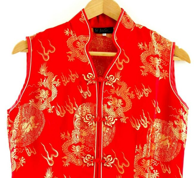 Close up of Long Red Chinese Dress