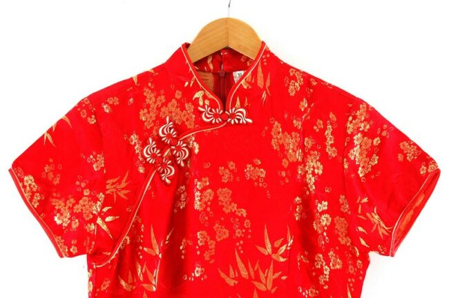 Close up top front of Red And Gold Chinese Dress