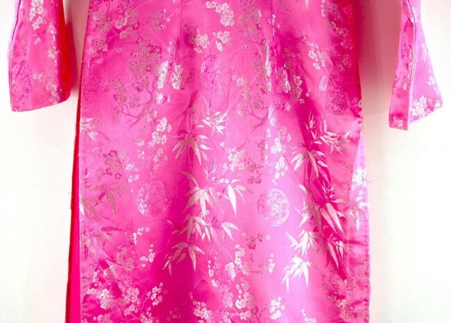 Close up of Pink Cherry Blossom Chinese Dress For Ladies
