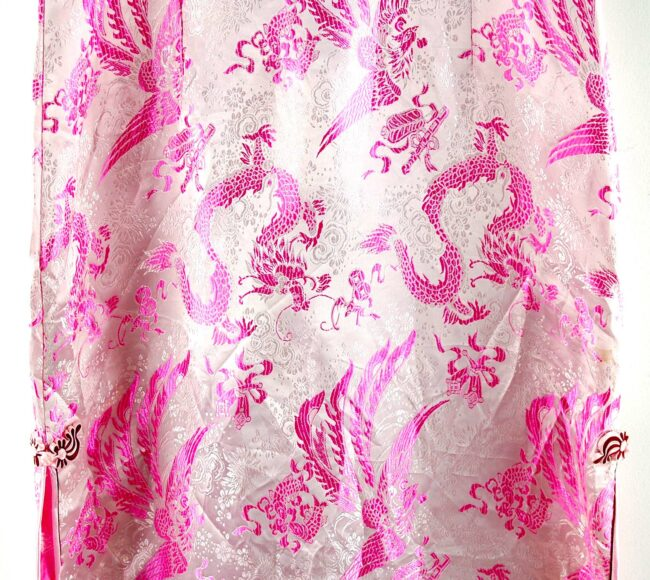 Close up of Pink Dragon Chinese Floral Dress